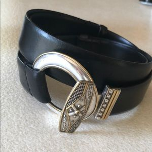 Chico's Leather Black Silver and Gold Buckle